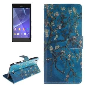 Plum Pattern Leather Case with Holder & Card Slot & Wallet for Sony Xperia T3 / M50W