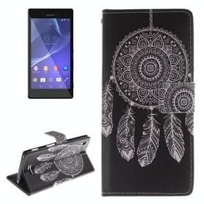 Dreamcatcher Windbell Pattern Leather Case with Holder & Card Slot & Wallet for Sony Xperia T3 / M50W