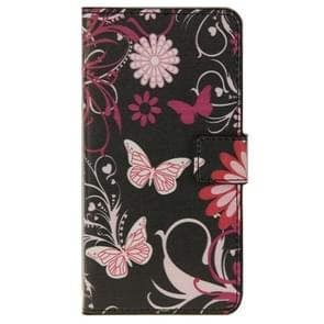 Butterfly & Flower Pattern Leather Case with Holder & Card Slots & Wallet for ZTE Blade S6