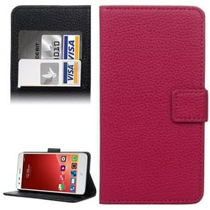Litchi Texture Leather Case with Holder & Card Slots & Wallet for ZTE Blade S6(Magenta)