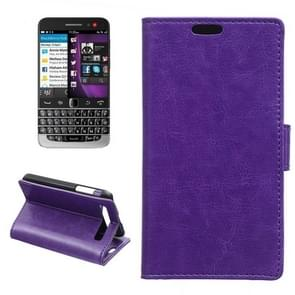 Crazy Horse Texture Horizontal Flip Solid Color Magnetic Buckle Leather Case with Holder & Card Slots & Wallet for Blackberry Classic / Q20(Purple)