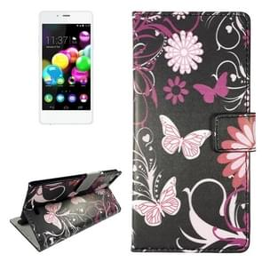 Butterfly & Flower Pattern Leather Case with Holder & Card Slots & Wallet for Wiko Highway Pure