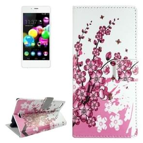 Plum Blossom Pattern Leather Case with Holder & Card Slots & Wallet for Wiko Highway Pure