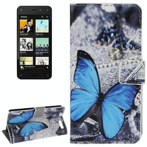 Blue Butterfly Pattern Leather Case with Holder & Card Slots & Wallet for Amazon Fire Phone