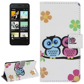 Two Owls Pattern Leather Case with Holder & Card Slots & Wallet for Amazon Fire Phone