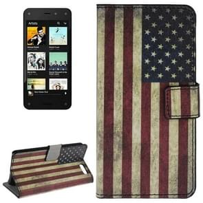 Retro US Flag Pattern Leather Case with Holder & Card Slots & Wallet for Amazon Fire Phone