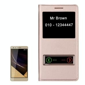 Litchi Texture Horizontal Flip Leather Case with Call Display ID for Huawei Honor 7(Gold)
