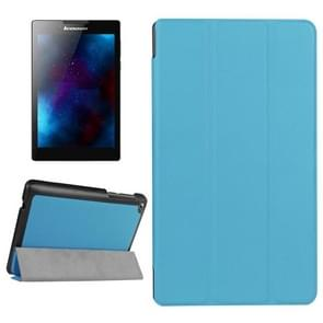Karst Texture Horizontal Flip Solid Color Leather Case with Three-Folding Holder for Lenovo Tab 2 A7-20F(Baby Blue)