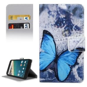 Blue Butterfly Pattern Horizontal Flip Leather Case with Holder & Card Slots & Wallet for Google Nexus 5X