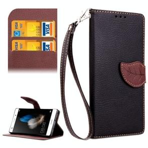 Leaf Magnetic Snap Litchi Texture Horizontal Flip Leather Case with Card Slots & Holder & Wallet & Lanyard for Huawei P8 Lite(Black)