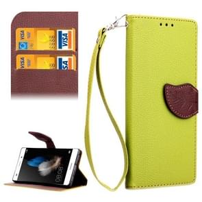 Leaf Magnetic Snap Litchi Texture Horizontal Flip Leather Case with Card Slots & Holder & Wallet & Lanyard for Huawei P8 Lite(Green)