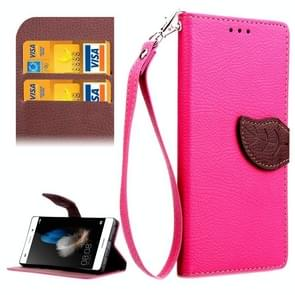 Leaf Magnetic Snap Litchi Texture Horizontal Flip Leather Case with Card Slots & Holder & Wallet & Lanyard for Huawei P8 Lite(Magenta)