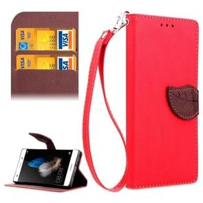 Leaf Magnetic Snap Litchi Texture Horizontal Flip Leather Case with Card Slots & Holder & Wallet & Lanyard for Huawei P8 Lite(Red)