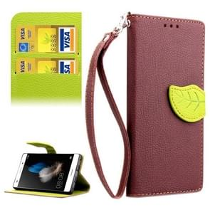 Leaf Magnetic Snap Litchi Texture Horizontal Flip Leather Case with Card Slots & Holder & Wallet & Lanyard for Huawei P8 Lite(Brown)