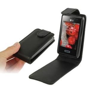 Pure Color Vertical Flip Leather Case for LG Optimus L3 II / E430 (Black)