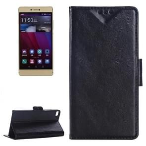 Oil Skin Texture Leather Case with Holder & Card Slots & Wallet for Huawei P8(Black)