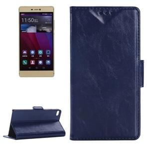 Oil Skin Texture Leather Case with Holder & Card Slots & Wallet for Huawei P8(Dark Blue)