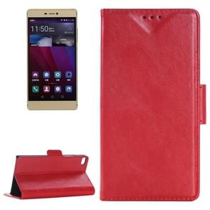 Oil Skin Texture Leather Case with Holder & Card Slots & Wallet for Huawei P8(Red)