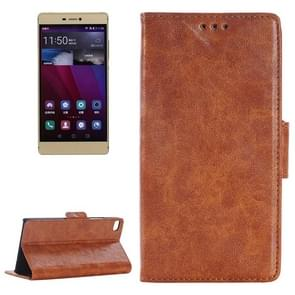 Oil Skin Texture Leather Case with Holder & Card Slots & Wallet for Huawei P8(Brown)