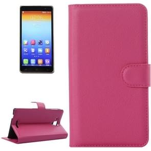 Litchi Texture Flip Leather Case with Holder & Card Slots & Wallet for Lenovo Gold Warrior S8 / S898(Magenta)
