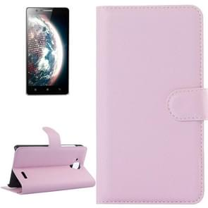 Litchi Texture Flip Leather Case with Holder & Card Slots & Wallet for Lenovo A536(Pink)