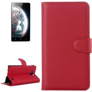 Litchi Texture Flip Leather Case with Holder & Card Slots & Wallet for Lenovo A536(Red)