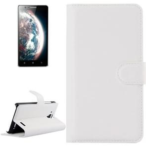 Litchi Texture Flip Leather Case with Holder & Card Slots & Wallet for Lenovo A536(White)
