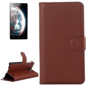 Litchi Texture Flip Leather Case with Holder & Card Slots & Wallet for Lenovo A536(Brown)