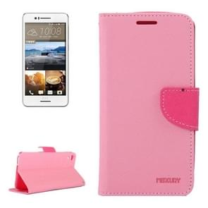 For HTC Desire 728 Color Matching Cross Texture Flip Leather Case with Holder & Card Slots & Wallet(Pink)