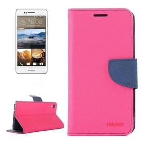 For HTC Desire 728 Color Matching Cross Texture Flip Leather Case with Holder & Card Slots & Wallet(Magenta)