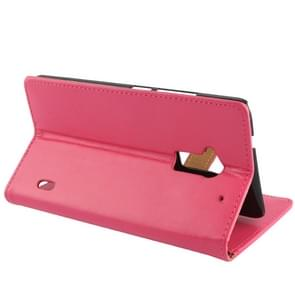Crazy Horse Texture Leather Case with Credit Card Slot & Holder for HTC One Max / T6 / 809d (Magenta)