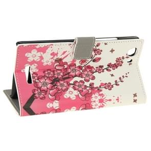 Cherry Blossom Pattern Horizontal Flip Leather Case with Holder & Card Slots & Wallet for Wiko Ridge Fab 4G