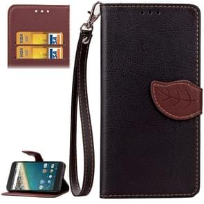 Leaf Magnetic Snap Litchi Texture Horizontal Flip Leather Case with Card Slots & Wallet & Holder & Lanyard for Google Nexus 5X(Black)