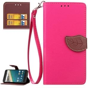 Leaf Magnetic Snap Litchi Texture Horizontal Flip Leather Case with Card Slots & Wallet & Holder & Lanyard for Google Nexus 5X(Magenta)