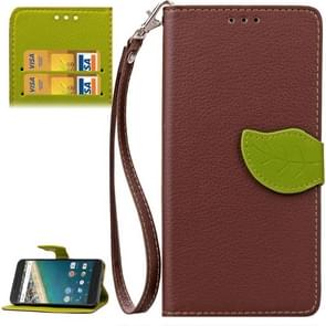 Leaf Magnetic Snap Litchi Texture Horizontal Flip Leather Case with Card Slots & Wallet & Holder & Lanyard for Google Nexus 5X(Brown)
