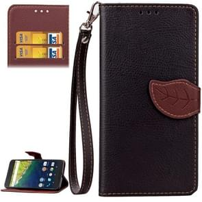 Leaf Magnetic Snap Litchi Texture Horizontal Flip Leather Case with Card Slots & Wallet & Holder & Lanyard for Google Nexus 6P(Black)