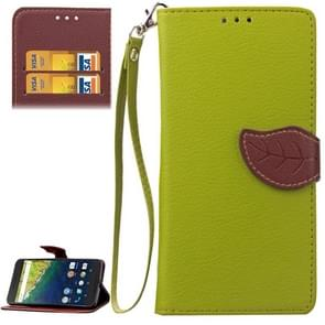 Leaf Magnetic Snap Litchi Texture Horizontal Flip Leather Case with Card Slots & Wallet & Holder & Lanyard for Google Nexus 6P(Green)