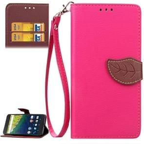 Leaf Magnetic Snap Litchi Texture Horizontal Flip Leather Case with Card Slots & Wallet & Holder & Lanyard for Google Nexus 6P(Magenta)