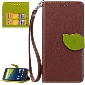 Leaf Magnetic Snap Litchi Texture Horizontal Flip Leather Case with Card Slots & Wallet & Holder & Lanyard for Google Nexus 6P(Brown)