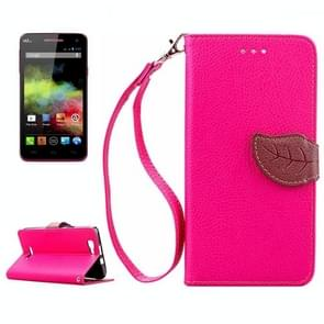 Leaf Magnetic Snap Litchi Texture Horizontal Flip Leather Case with Card Slots & Holder & Wallet & Lanyard for Wiko Rainbow(Magenta)