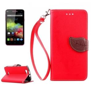 Leaf Magnetic Snap Litchi Texture Horizontal Flip Leather Case with Card Slots & Holder & Wallet & Lanyard for Wiko Rainbow(Red)
