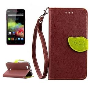 Leaf Magnetic Snap Litchi Texture Horizontal Flip Leather Case with Card Slots & Holder & Wallet & Lanyard for Wiko Rainbow(Brown)