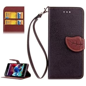 Leaf Magnetic Snap Litchi Texture Horizontal Flip Leather Case with Card Slots & Holder & Wallet & Lanyard for Wiko Highway(Black)
