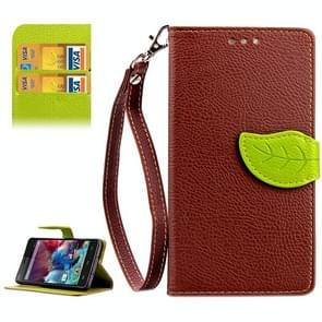 Leaf Magnetic Snap Litchi Texture Horizontal Flip Leather Case with Card Slots & Holder & Wallet & Lanyard for Wiko Highway(Brown)