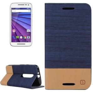 Canvas Surface Horizontal Flip Leather Case with Card Slot & Holder for Motorola Moto G(3rd Gen.)(Dark Blue)