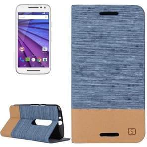 Canvas Surface Horizontal Flip Leather Case with Card Slot & Holder for Motorola Moto G(3rd Gen.)(Blue)