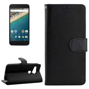Crazy Horse Texture Horizontal Flip Leather Case with Holder & Card Slots & Wallet & Photo Frame for Google Nexus 5X(Black)