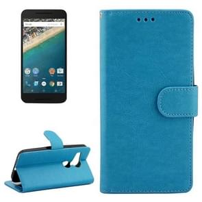 Crazy Horse Texture Horizontal Flip Leather Case with Holder & Card Slots & Wallet & Photo Frame for Google Nexus 5X(Blue)