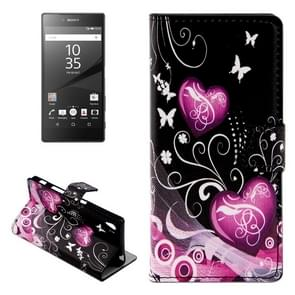 Heart Pattern Leather Case with Holder & Card Slots & Wallet for Sony Xperia Z5