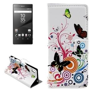 Butterfly Pattern Leather Case with Holder & Card Slots & Wallet for Sony Xperia Z5